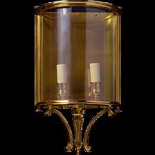 GEORGIAN Style gilded bronze two light wall lantern