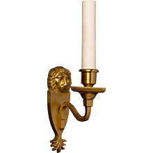 "LOUIS XVI Style gilded bronze one light ""LION"" Motif sconce"