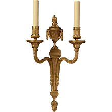 LOUIS XVI style gilded bronze two light sconce with urn