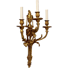 "LOUIS XVI Style gilded bronze ""RAMS HEAD"" Motif three light sconce"