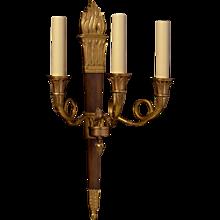 Gunmetal and gilt bronze three light sconce