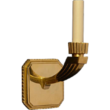 ART DECO Style gilded bronze squared back one light sconce