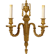 LOUIS XVI Style gilded bronze two light sconce