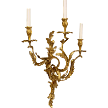 "LOUIS XV Style gilded bronze ""ROCOCO"" Motif three light sconce"
