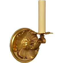 LOUIS XVI Style gilded bronze flowered back one light sconce