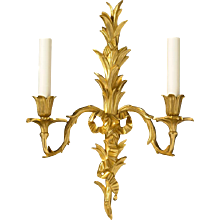 LOUIS XV Style gilded bronze two light sconce