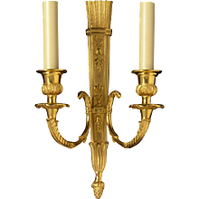 EMPIRE Style gilded bronze two light sconce