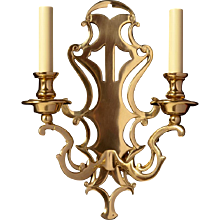 Oxidized bronze with open fretwork back two light sconce