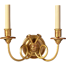 "Giltwood and gesso two light ""TRUMPET"" Motif sconce"