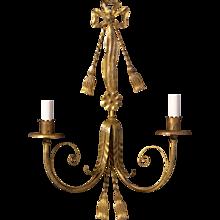LOUIS XVI Style gilded iron two light sconce