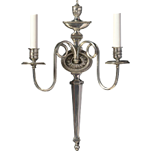 ADAM Style silvered bronze two light sconce with urn