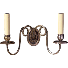 ADAM Style silvered bronze two light sconce