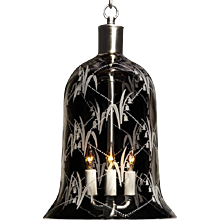 """LILY OF THE VALLEY"" crystal bell shaped three light lantern."