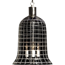"""PLAID"" crystal bell shaped three light lantern jar."