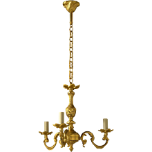 LOUIS XV Style gilded bronze three light chandelier. Lead time 14-16 weeks.