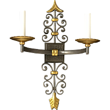 Dark and gilt bronze two light arrow sconce