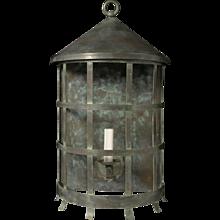 Verdigris half round lantern.
