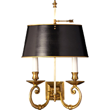 Gilded bronze squared back two light sconce with painted tole shade