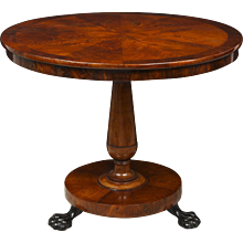 Biedermeier Style Center Table in Burl Walnut
