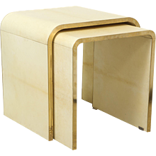 Set Of Parchment Nesting Tables with Bronze Banding