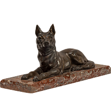Recumbent Dog on Marble Base