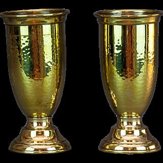 Pair of Brass Spill Vases