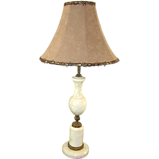 Art Deco French White Marble Lamp with Feathered Shade