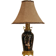 1870s French Porcelain and Ormolu Lamp