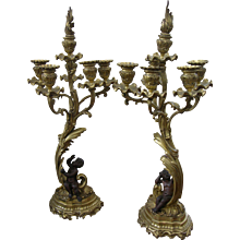 1870 Pair of Bronze and Ormolu Candelabra