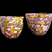Fratelli Pagnin 1970s Vintage Pair of Yellow Orange Purple Murano Glass Bowls