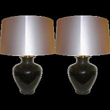 VeArt 1960s Italian Black Glass Lamps