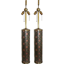 Pair of copper and brass lamps