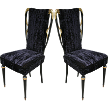 Early 1940s Glamourous Italian Pair of Side Chairs in Black Silk Velvet