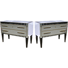 Italian Pair of Mirrored Chests or Side Tables with Black Accents