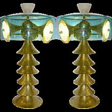 Modern Italian Bronze and Aqua Blue Glass Lamp