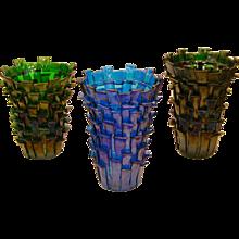 Venini Ritagli Murano Glass Vases in Marine Blue & Iridescent Green