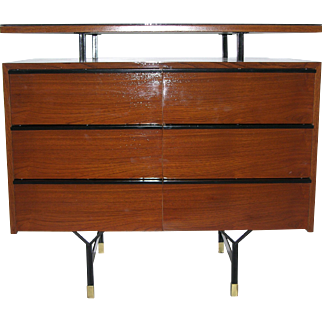 1960s Modern Italian Wood Chest with Brass and Black Accents