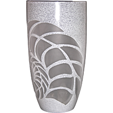 White Textured Murano Glass Vase with Fern Decor