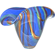 Davide Dona Blown Murano Glass Vase in Blue with Colored Murrine