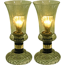 Cenedese 1970s Vintage Pair of Smoked Green Murano Glass Lamps