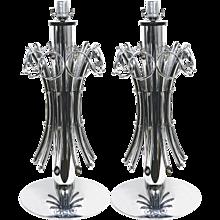 1970s Grand Pair of Italian Chromed Lamps