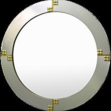 Renato Zevi 1970s Italian Graphic Round Mirror
