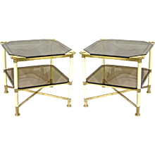 Vivai del Sud 1970s Pair of Smoked Glass and Ivory Tone Lacquered Brass Side Tables