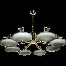 Italian Bronze and Grey Opal Glass Chandelier