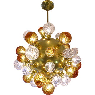 Italian Modern Sputnik Brass Chandelier with Crystal and Gold Swarovski Balls