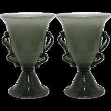 1940s Pair of Smoked Murano Glass Lamps