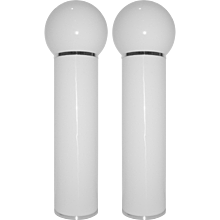 LOM 1960s Italian Pair of Tall Cylindrical White Floor Lamps
