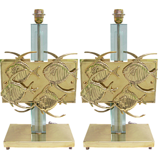 1970s Italian Vintage Pair of Blue Glass and Bronze Fish Table Lamps