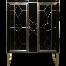 Italian Art Deco Style Black Glass Cabinet/Bar with Bronze Highlights