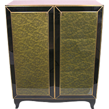 1970s Italian Black Glass Cabinet with Lace Inlays